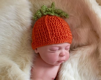 Pumpkin hat, baby pumpkin hat, fall photo prop, Halloween baby costume, pumpkin baby beanie, pumpkin baby hat, newborn fall photo prop