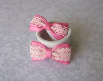 Bright Hot Pink Satin & Off-White Ivory Lace Bow, Girls Hair Accessory, Barrette, Ponytail, Clip, Toddler, School, Photos, Headband