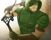 GREEN ARROW (Oliver Queen) limited edition art painting print, signed by Leann Hill