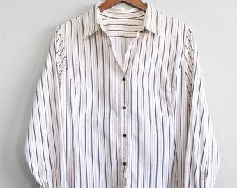 S A L E ⎮ 90's White Striped Shirt