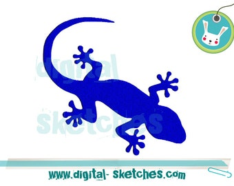 Gecko Embroidery Design Reptile INSTANT DOWNLOAD 3 Sizes Lizard