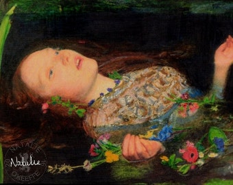 Ophelia Oil Pastel Drawing