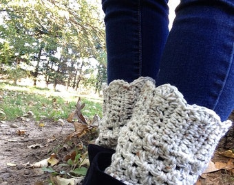 Oatmeal Tweed Boot Cuffs Crocheted Bow or No Bow