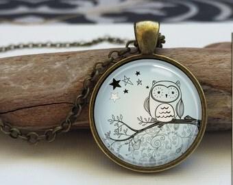 Owl necklace. owl art pendant jewelry. Owl jewelry. woodland jewelry. Glass photo necklace (owl #8)