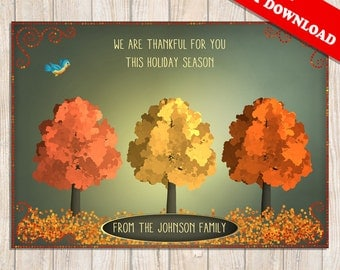 THANKSGIVING HOLIDAY CARD - Autumn Card, Fall Card, Thankful Card Holiday Card, DiY, Personalized High Quality 300 dpi Instant Download