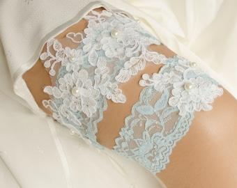 Wedding Garter Set, Bridal Garter, Lace and Pearl Garter, Lace Garter, Keepsake and Toss Garter Set, Something Blue Garter- SNOW GARTER SET