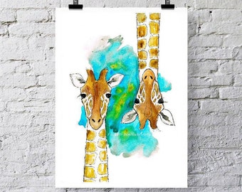 Giraffes.  Upside down? Greetings card / Art print