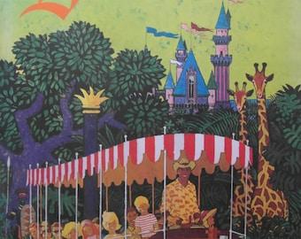 Rare Original 1963 United Airlines Poster Advertising Travel to Disneyland