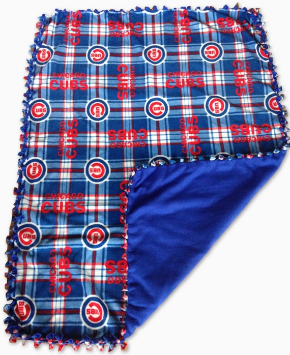 Chicago Cubs fleece, cubs blanket, chicago cubs plaid blanket, MLB no sew fleece, Chicago Cubs gear, Cubs weighted fleece blanket, plaid