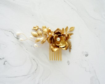Gold Bridal Hair, Bridal Hair Accessory, Wedding Hair, Bridal Hair, Gold Wedding, Wedding Hair, Pearls Bridal Hair Comb