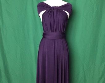 Dark Purple dress,Bridesmaid Dress , Infinity Dress,Knee Length Wrap Convertible Dress.Party dress A18#