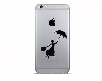 2 iPhone 6 Decals - iPhone 6 Plus Stickers - Galaxy s8 Two Mary Poppins Decal - Black Fabric Stickers - Samsung galaxy s7 Decal - Gold Decal