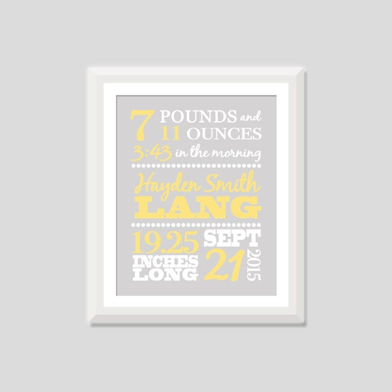 Birth announcement wall art baby boy baby girl birth like this item negle Choice Image