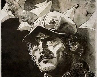 "JAWS - Quint (Robert Shaw) 12.5"" x 9.5"" art print"