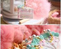 Unicorn creamy cake - anti dust plug key chain bag charm