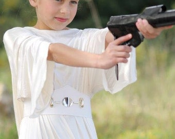 white long dress for girls, princess leia costume, Leia princess Leia, Lia, leya, costume for halloween, halloween costume, girls costume