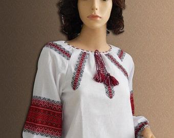Ukrainian blouse Vyshyvanka National Ukrainian clothing Ukrainian embroidery Folk blouse Women's blouse Red blue Different sizes.