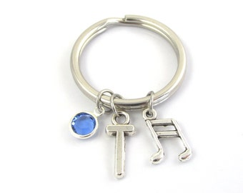 Music Keychain- choose a birthstone and initial, Music Keyring, Music Gift, Piano Teacher Gift, Music Note Keychain, Music Note Gift