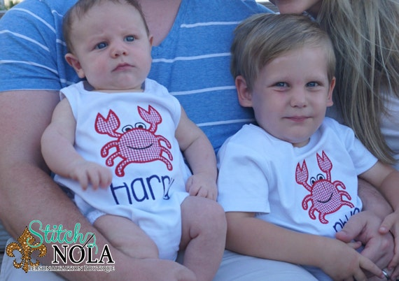 Crab Shirt with Name, Gown, Bodysuit, Romper or Bubble