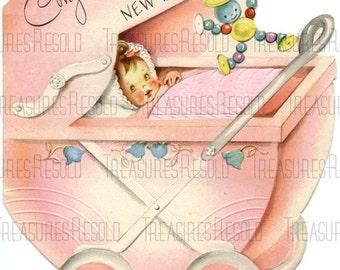 Retro Congratulations New Baby Girl Stroller Baby Buggy Card #555 Digital Download