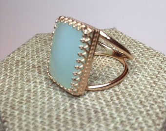 Rose gold filled chalcedony ring