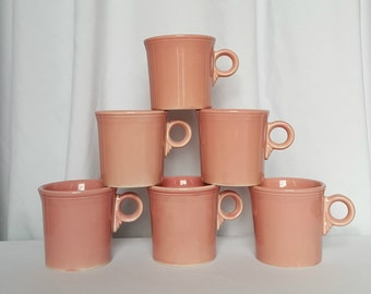 Vintage Set of 6 Rose Fiestaware Mugs by Homer Laughlin Company gift under 50