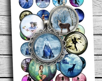 "Fantasy Digital Collage Sheet 20 mm 25 mm 1"" 1.5"" round circles for Bottle caps Pendants Digital Cabochon Fairies Deers"