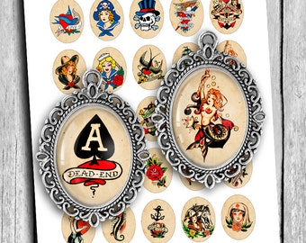 Retro Sailor Tattoos cabochon images 30x40mm, 22x30mm 18x25 mm for Jewelry Making Sailor Jerry Digital Collage Sheet Instant Download