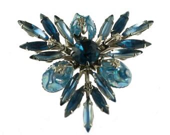 Blue Rhinestone Spray Pin