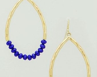 Gold Teardrop and Blue Beaded Earrings