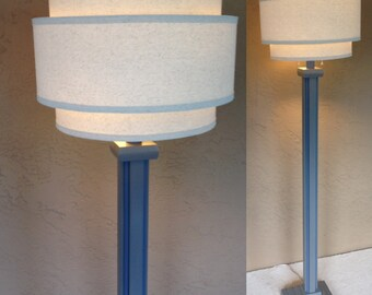"""Retro modern wood floor lamp base in """"Dolphin"""" gray with blue trim without shade. Includes LED bulb and free shipping to lower 48 states."""