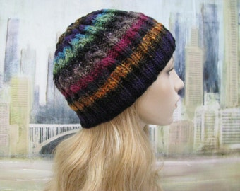 Women's Hand Knitted Hat, 'Alexis', Noro Yarn Kureyon, Ski Hat, Cabled Hat, Winter Hat, Beanie Hat