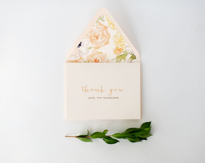 laura wedding thank you cards // personalized thank you cards / personalized stationery / card set / blush / gold / watercolor floral