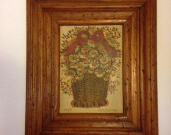 Flowers in Basket Vintage Original Painting by J H Gibson 1977 in distresed frame