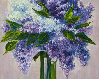 Oil Painting Lilac Original Artwork Home Decor Wall Decor Floral Wall Hanging Art Elegant Vibrant Flowers