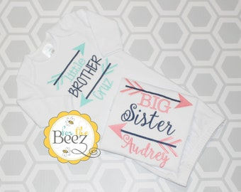 Big Sister Little Brother Shirt, Arrow Sibling Set, Sibling Set, Sibling Shirts, Big Sister Little Brother Outfit, Big Sis Lil Bro