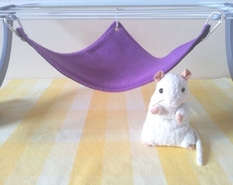 Medium Corner Pet Hammock Rat Cage Toy Purple and Black Handmade Hard Wearing Durable Upcycled Denim and Fleece Cage Accessory