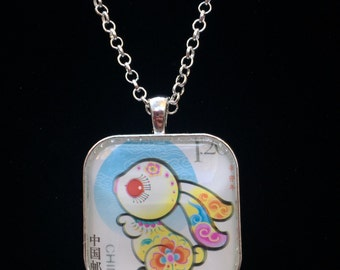Chinese Year of the Rabbit Postage Stamp Necklace   Zodiac jewelry   Bunny   China stamp