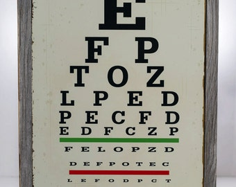 Framed Eye Chart Metal Sign, Novelty, Den Decor, Home Décor  HB7015F