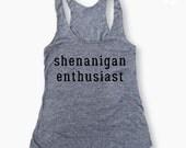 SHENANIGAN ENTHUSIAST  Gym Eco-tank in Heather Grey/Black