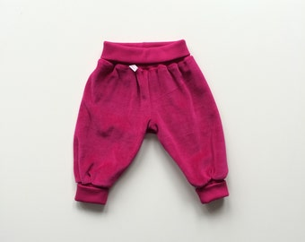 ON SALE Pink baby pants. Comfy slouchy infant pants with fold over waist band and cuffs Pink velvet cotton. Bubble pants