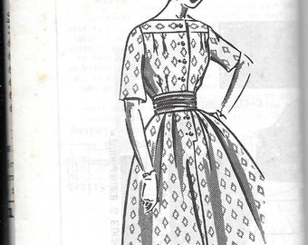 "Vintage 1960s Mail Order Sewing Pattern 1-304 - Misses' Dress size 14  bust 34"" uncut"
