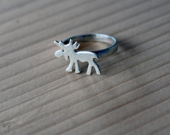 Silver Ring-Silver Moose Ring-Silver Moose Jewelry- Silver Elk Ring-Sterling Silver Elk Ring-Animal Jewelry-Forest Jewelry-Christmas Gift