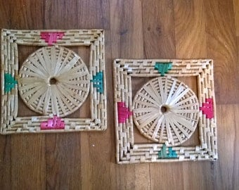 1970s Bohemian Straw Trivets, Set of Two