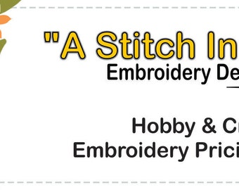 Hobby and Craft Embroidery Pricing Guide - Instant PDF Download