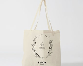 Tote bag sweet wedding, cotton bag tote, bag wedding bag bridesmaid, handbag, tote bag, bag offer, bag event