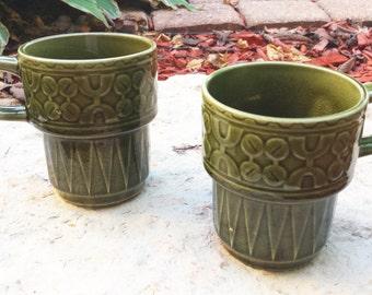 Vintage 1960s Green Ceramic Stacking Mugs (Set of 2)