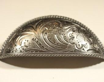 Fancy Western Style Bin Pull - Old Silver