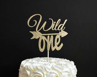 Wild One Cake Topper - Arrow Cake Topper - Glitter First Birthday Cake Topper - Boho 1st Birthday - Tribal Theme Birthday Cake Topper