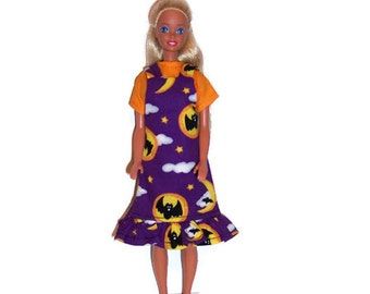 Fashion Doll Clothes-Bat/Moon Halloween Print Jumper & Orange Blouse